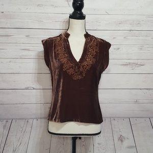 Anthropologie fei Velvet Embroidered Top   Size 4